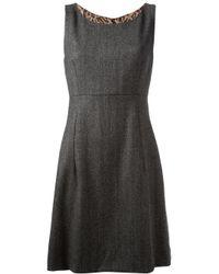 Dolce & Gabbana | Gray Sleeveless Herringbone Dress | Lyst