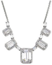 Arabella   Metallic Swarovski Zirconia Graduated Frontal Necklace In Sterling Silver   Lyst