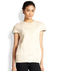 L'Agence - White Rabbit Fur Sweatshirt Tee - Lyst