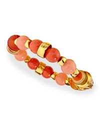 Jose & Maria Barrera | Metallic Gold-plated Beaded Shell Bracelet | Lyst