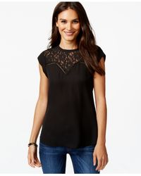 Vince Camuto | Black Sleevless Lace-yoke Top | Lyst