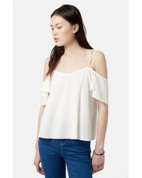 TOPSHOP | Natural Tie Strap Cold Shoulder Top | Lyst