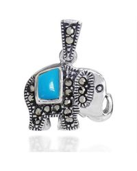 Aeravida | Royal Elephant Blue Turquiose And Marcasite 925 Silver Pendant | Lyst