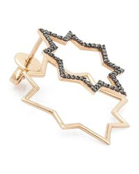 Kismet by Milka | Pink Geometry Black Diamond Star Earring | Lyst