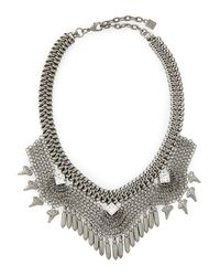 DANNIJO - Metallic Langley Mesh Crystal Necklace - Lyst