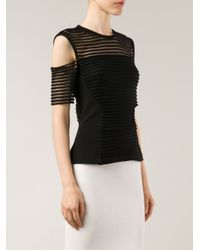 Yigal Azrouël - Black Striped Off-Shoulder Top - Lyst