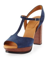 See By Chloé - Blue Alex Platform T-Bar Sandals - Lyst