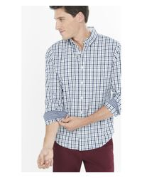 Express | Blue Soft Wash Check Shirt for Men | Lyst