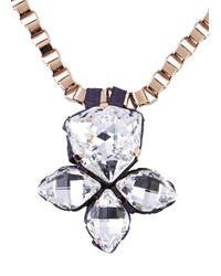 John & Pearl - Pink Rose Gold Plated Swarovski Necklace - Lyst