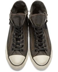 Converse - Gray Grey Distressed High_top Sneakers for Men - Lyst