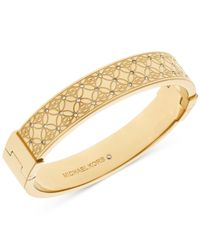 Michael Kors | Metallic Pavé Monogrammed Bangle Bracelet | Lyst