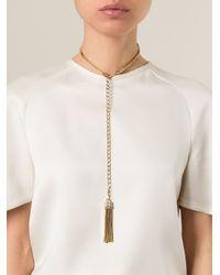 Lanvin   Metallic Tassel Pendant Necklace   Lyst