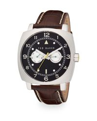 Ted Baker | Black Square Stainless Steel & Leather Multifunction Watch | Lyst