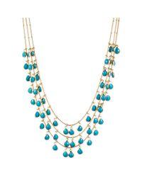 Anne Klein | Metallic Goldtone Multirow Shaky Turquoise Bead Necklace | Lyst