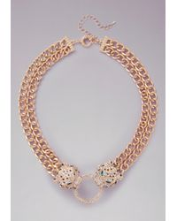 Bebe | Metallic Cougar Statement Necklace | Lyst