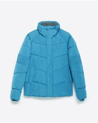 Zara | Blue Quilted Jacket for Men | Lyst