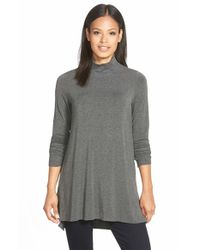 Eileen Fisher Gray Funnel Neck Jersey Tunic