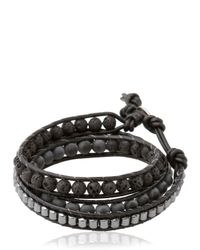 Colana | Black Double Wrap Leather And Lava Bracelet | Lyst