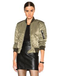 Saint Laurent | Green Cropped Crepe Bomber Jacket  | Lyst