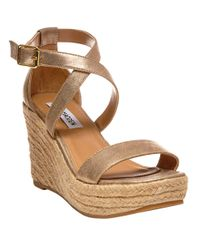 Steve Madden | Metallic Montauuk Wedge Sandals | Lyst