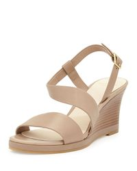 Cole Haan - Natural Ravenna Leather Wedge Sandal - Lyst