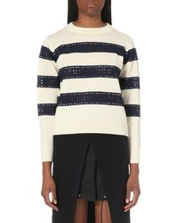 Sacai | White Lace-panelled Wool Jumper | Lyst