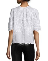 Isabel Marant - White Embroidered Voile Top - Lyst