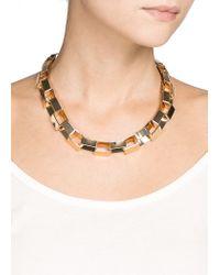 Mango - Metallic Rectangular Link Choker - Lyst