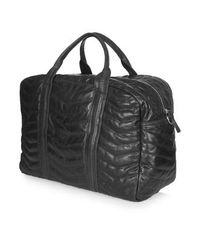 TOPSHOP - Black Leather Zig-Zag Quilted Luggage Bag - Lyst