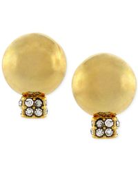 Vince Camuto - Metallic Gold-tone Ball And Crystal Stud Earrings - Lyst