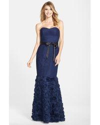 JS Collections - Blue Rosette Detail Shirred Mesh Dress - Lyst