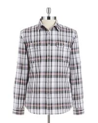 DKNY | Gray Plaid Roll-Tab Sportshirt for Men | Lyst