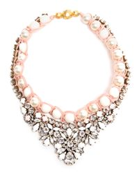 Shourouk | Pink Theresa Swarovski Crystal and Faux Pearl Necklace | Lyst