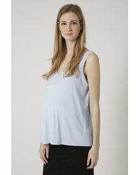 TOPSHOP - Blue Maternity V-Neck Crepe Swing Vest - Lyst