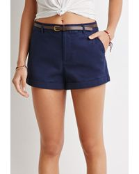 Forever 21 | Blue Belted Chino Shorts | Lyst