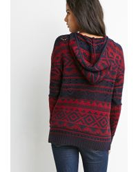 Forever 21 - Blue Open Knit Geo-patterned Hoodie - Lyst
