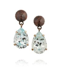 Givenchy Blue Cone Pendant Earrings In Mineral Stone And Crystal