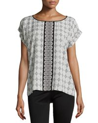 Max Studio - Black Brick Tile Printed Rolled-cuff Blouse - Lyst