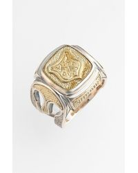 Konstantino | Metallic 'byzantium' Two-tone Rectangle Shield Ring for Men | Lyst