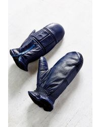 Urban Outfitters | Blue Quilted Zip Leather Puffer Mitten | Lyst