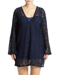 J Valdi | Blue Plus Lace-Look Cover Up | Lyst