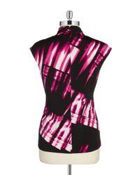 Calvin Klein | Black Ruched Mockneck Top | Lyst