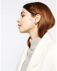 ASOS | Metallic Limited Edition Triangle Double Faux Pearl Stud Earrings | Lyst