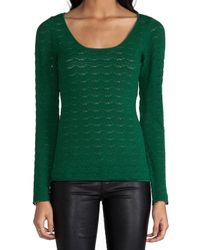 Catherine Malandrino - Green Abbey Pointelle Top - Lyst