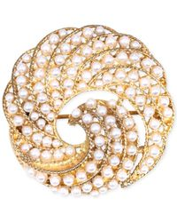 Jones New York | White Gold-tone Faux Pearl Swirl Pin | Lyst