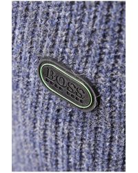 BOSS Green | Blue Cardigan: 'mauke' In New-wool Blend for Men | Lyst