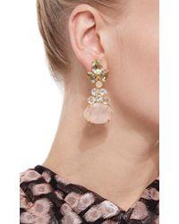 Bounkit | Multicolor Green Amethyst, Clear Quartz And Rose Quartz Drop Earrings | Lyst