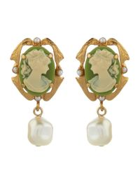 Dolce & Gabbana | Metallic Cameo Drop Clip-on Earrings | Lyst
