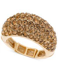 T Tahari - Metallic Gold-tone Pavé Stretch Ring - Lyst