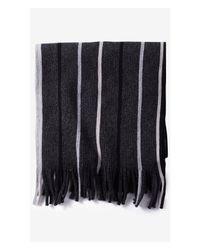 Express - Black Merino Wool Marled Striped Scarf for Men - Lyst